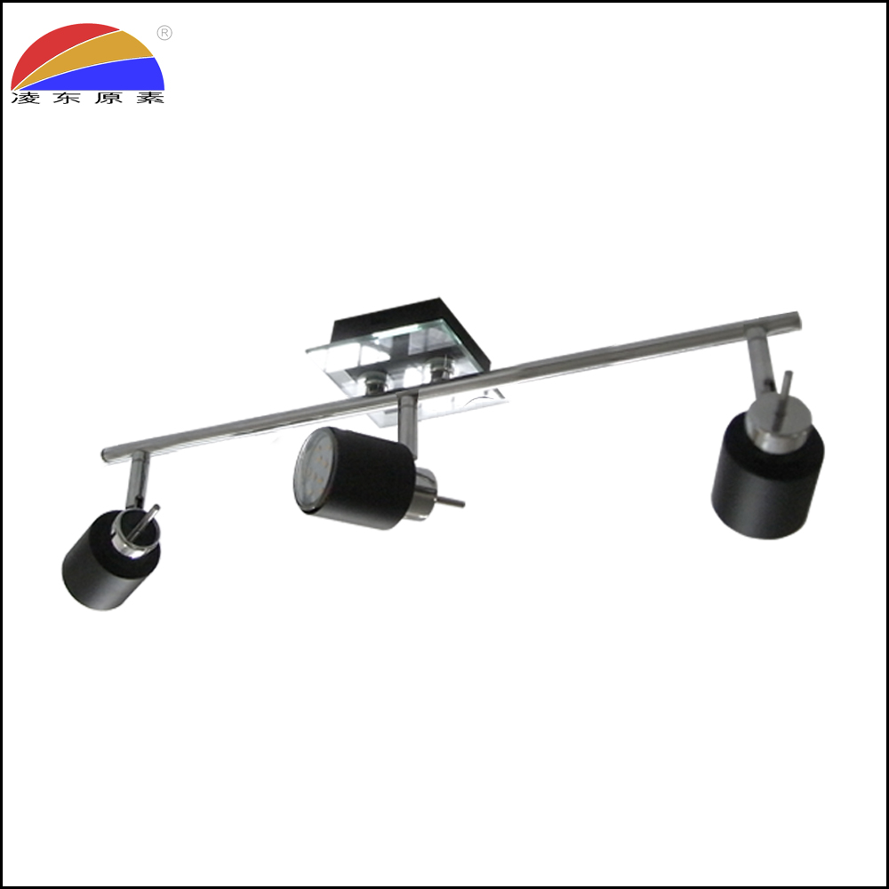 3 way head bar logo projection spotlight in glass and iron tube chrome black