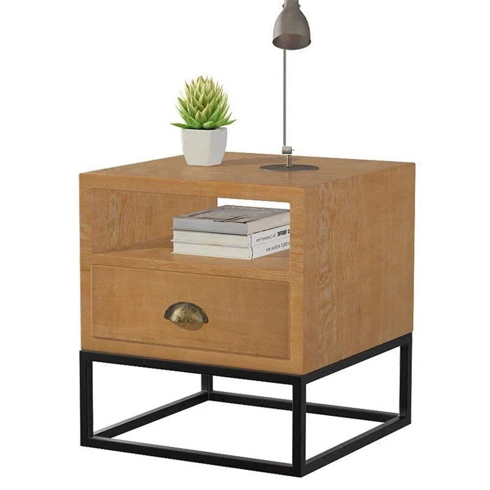 AiHerb.LT nightstand Bedside Cabinet Bedside Cabinet Iron Solid Wood Bedside Assembly Bedroom Bedside Cabinet (Color : I-505055)