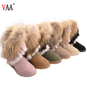 Free Samples Hot Sale Winter Manufacturer Trendy Three Color Racoon Fur Women Snow Boots, Ladies Top Quality Winter Half Boots