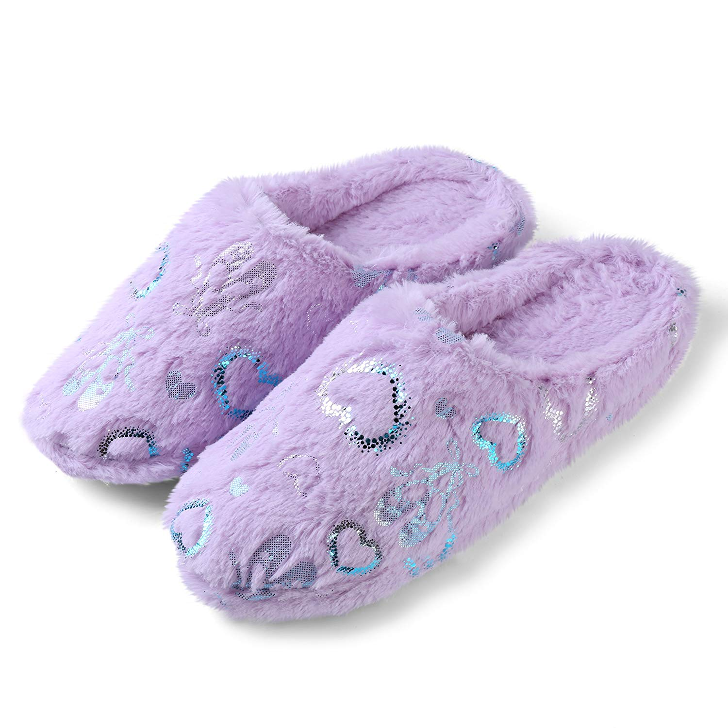 4d056c27869f Get Quotations · Aerusi House Warming Plush Fluffy Lovely Heart Bedroom Slip-On  Slippers