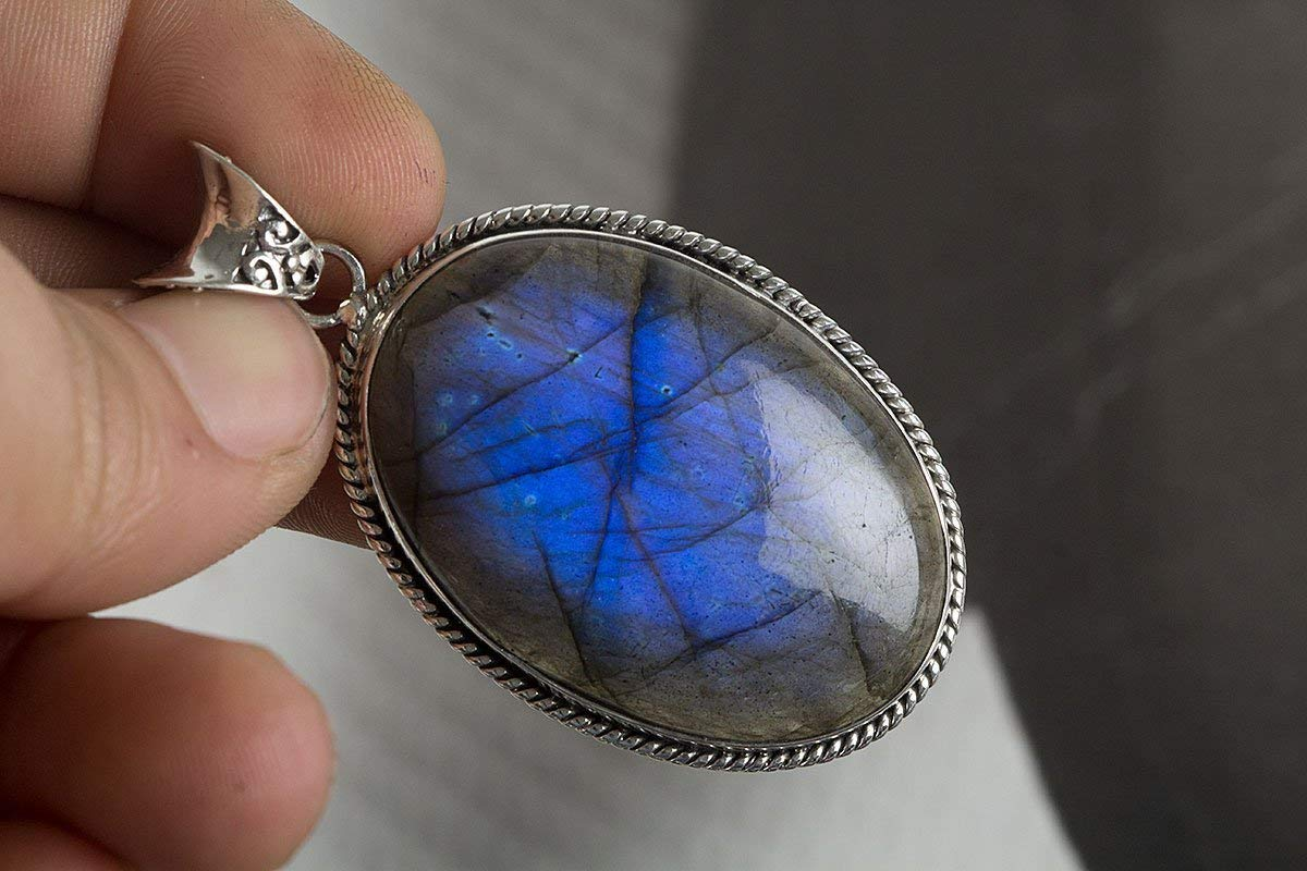 Labradorite Pendant, 925 Sterling Silver, Blue Fire Pendant, Large Pendant, Oval Pendant, High Quality Blue Labradorite, Smooth Pendant, Handmade Pendant Oval Shape, Anniversary Gift