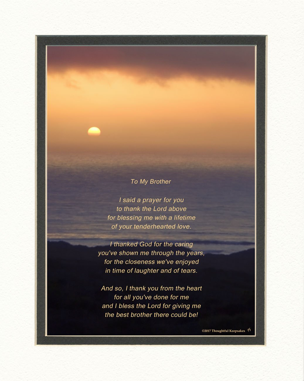Get Quotations  C2 B7 Brother Gift With Thank You Prayer For Best Brother Poem Ocean Sunset Photo