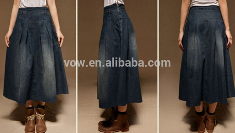 New Arrival Women Black Denim Jean Skirt Girls Long Denim Skirt ...