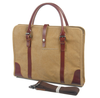 8571 Simple Fashion Custom Khaki Canvas Carry Men Laptop Bag with Leather Handles