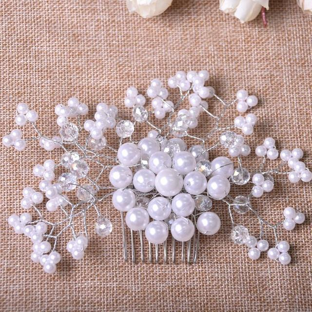 White Beads and Clear Rhinestone Wedding Accessory Bridal Jewelry Hair Comb