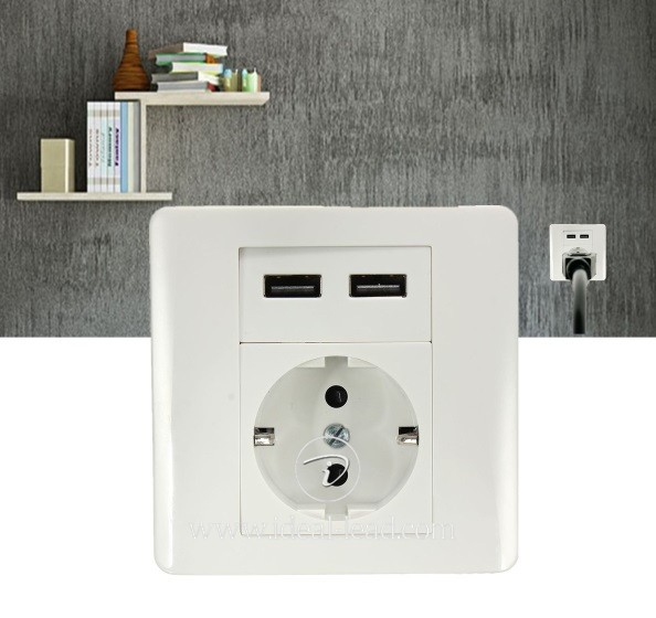 5V 2.1A EU Wall Socket with USB Port and switch -9 (3)