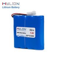 China factory price 18650 7.4V 5.2Ah li-ion battery pack with PCM