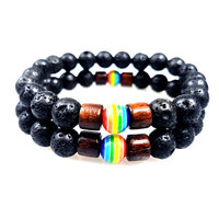 Fashion Jewelry Rainbow Bead Lave Stone Couple Beaded Bracelet