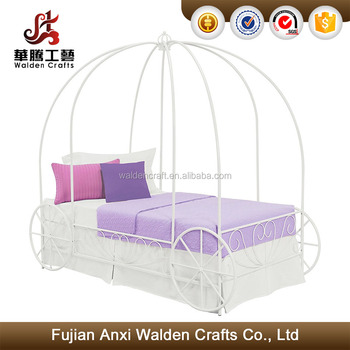 Fancy Design White Metal Carriage Twin Bed Canopy Bed Frame - Buy ...