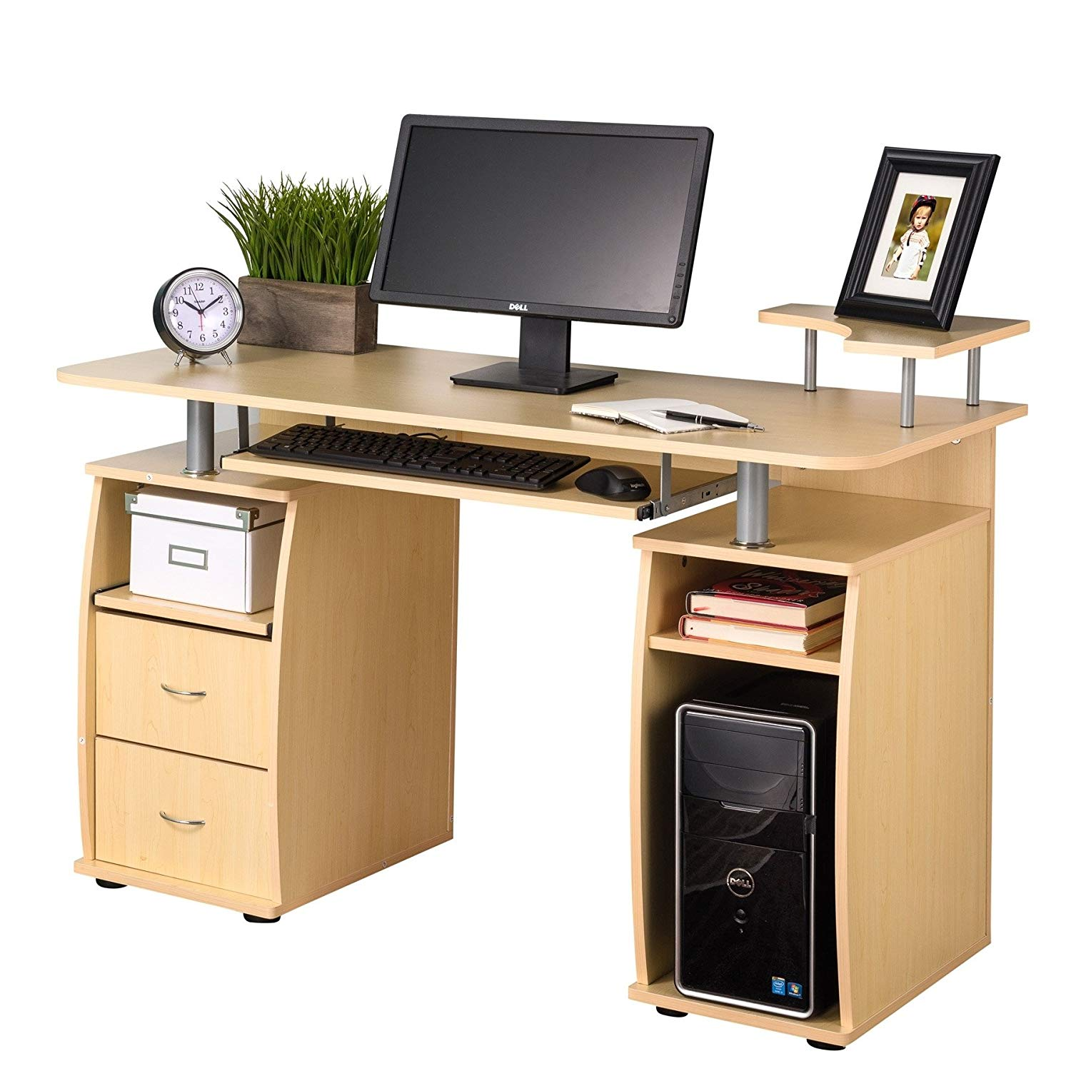 MyEasyShopping Fineboard Home Office Computer Desk - Black Chair Office Desk Computer Ergonomic