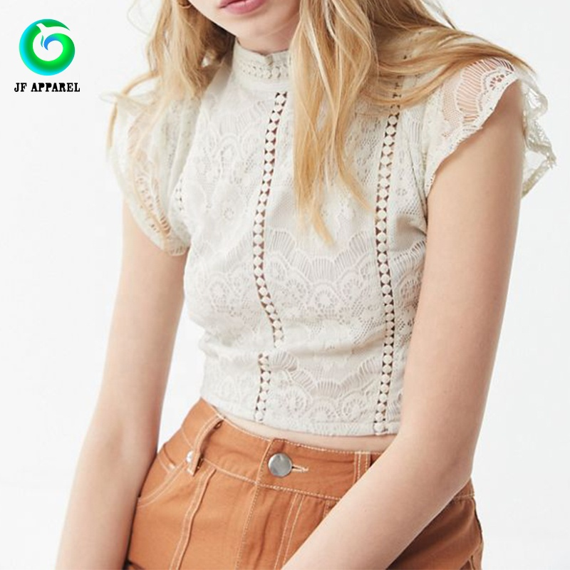 2019 Zomer Mode Snijden Ruches Mouwen Lace-up Vrouwen Korte Cropped Top Blouses
