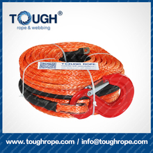 TOUGH ROPE-Dia.9.5mm winch rope for 12000LBS electric winch with thimble, 1m protective sleeve, nose end lug