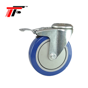 75 MM/3 inch Medium Duty Caster Wheel PU Central Precision Ball Bearing Bolt Hole Swivel Retractable Wheel for Trolley Cart