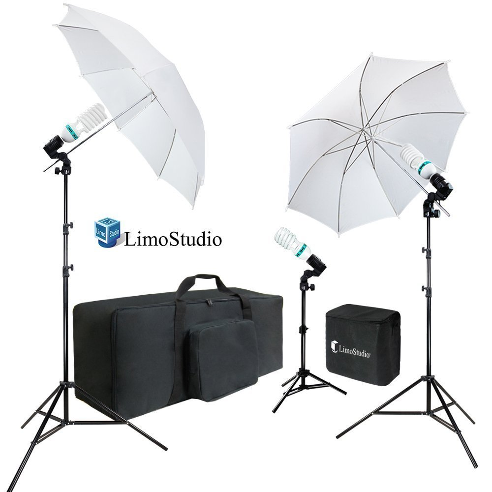 LimoStudio 2-Pack Reflector Dish Metal Lamp with Continuous Lighting Bulb and Umbrella Reflector Light Stand Tripod AGG2604V2 Lamp Socket and Umbrella Reflector Holding Slot Photo Studio