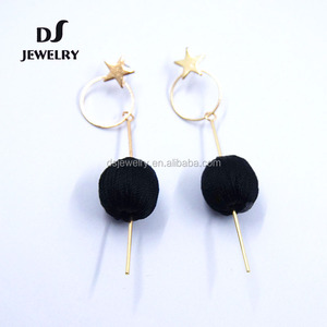 wholesale latest design gold plated black handmade thread ball drop earrings