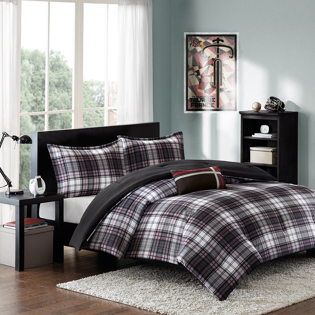 Modern Teen Bedding Boys Kids Plaid Stripes Comforter Set Black White Red Perfect for Home or Dorm. Includes Bonus Pocket Flashlight From Switchback Outdoor Gear (Twin/Twin XL)