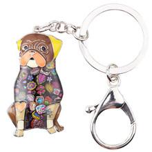 Bonsny, эмаль, металлическая мопса, собака, брелок для ключей, ювелирное изделие для женщин, сумка для девушек, подвеска, очаровательный Автомоб...(Китай)