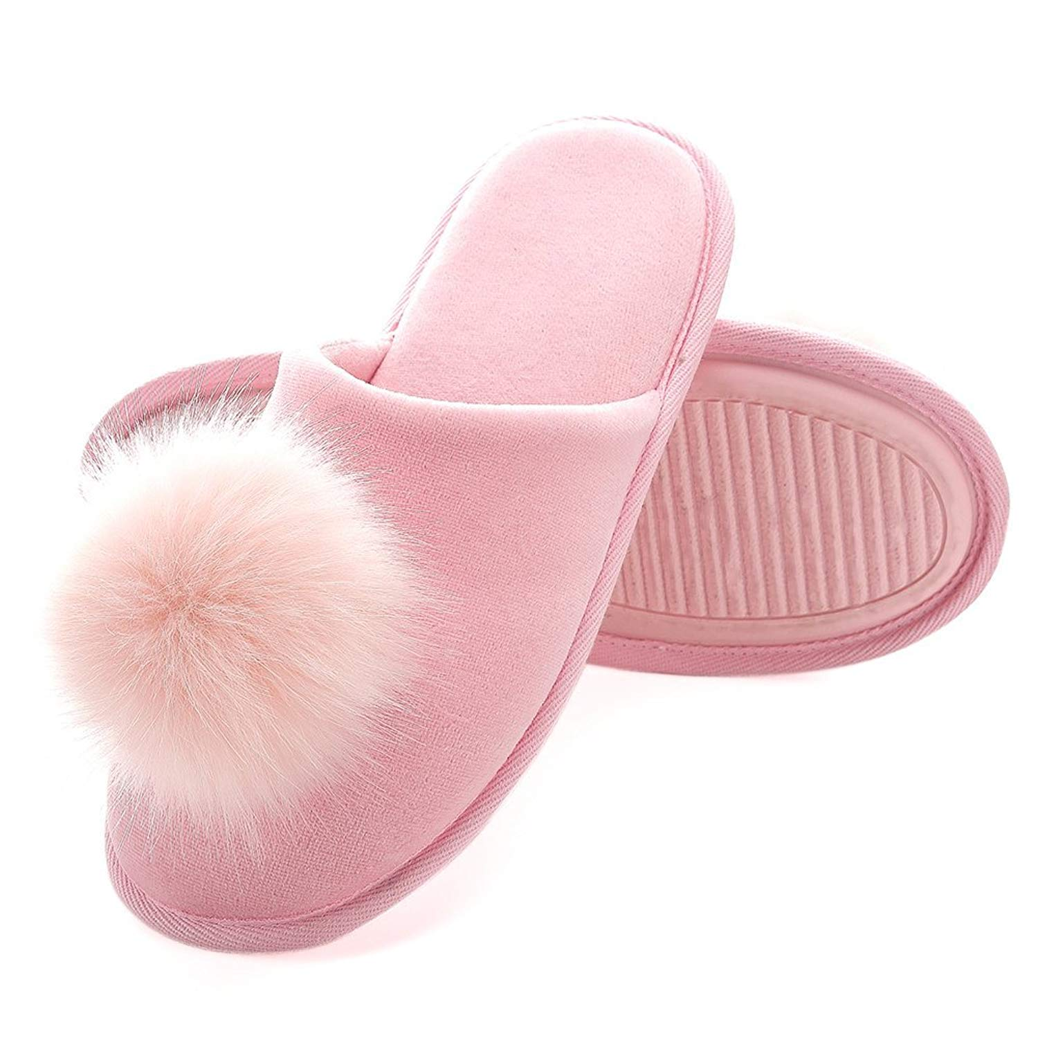 Women's Cozy Velvet Memory Foam Indoor Slippers Anti-Slip Soles Fuzzy Fluffy Slippers