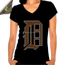 Custom Logos Design Greek Letter Rhinestone Motif O Neck Plain Black Woman T-shirt