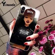 Yinuoda меланин поппин Черный Девушка эстетический чехол для телефона для iPhone 6S 6plus 7plus 8 8Plus X Xs MAX 5 5S XR 10 11 11pro 11promax(Китай)