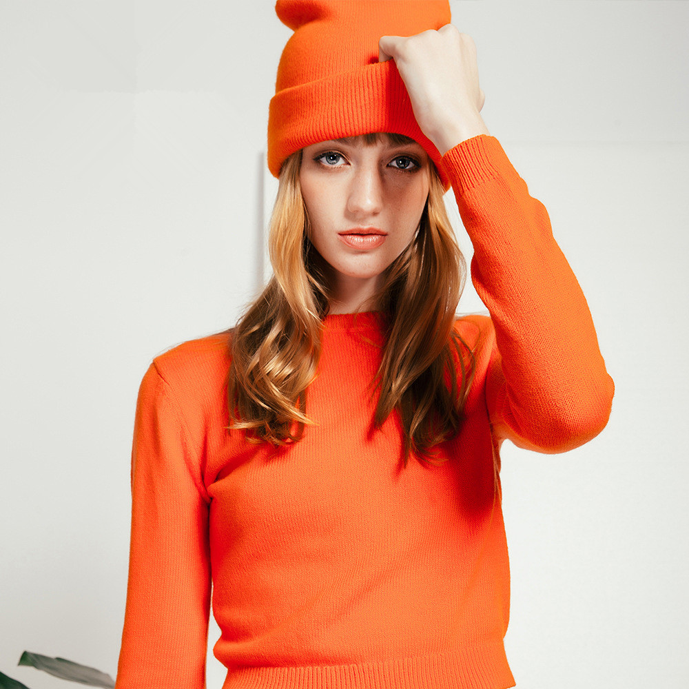 Sexy Warm Knitted Sweater <strong>Orange</strong> Black Cotton Wool Winter Pullovers Tops
