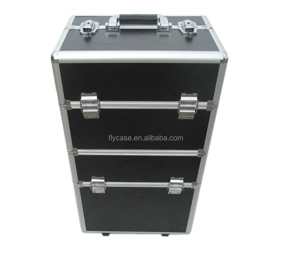 new 2017 travelling aluminum trolley makeup case with trays