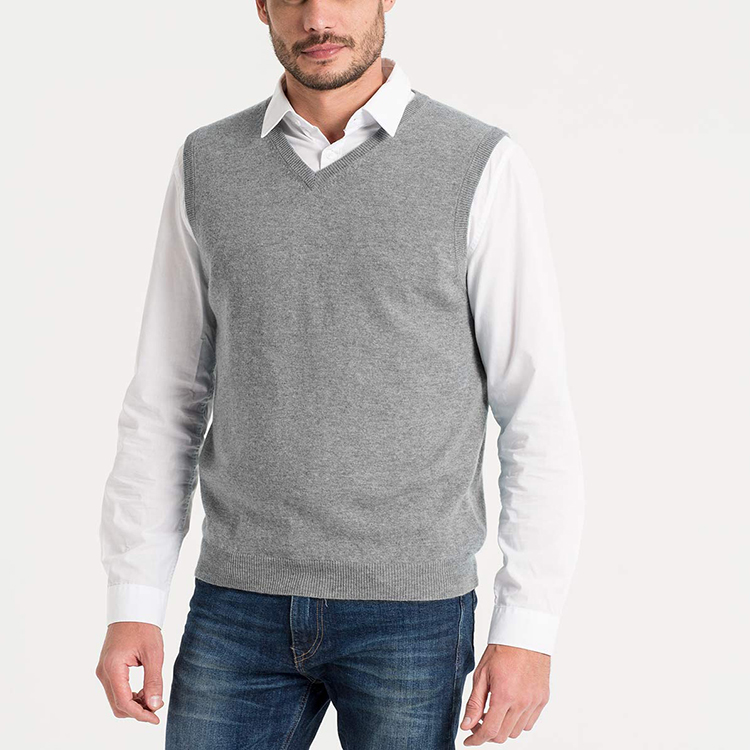 Winter Brand Mens Cashmere and Merino V Neck Knitted Vest