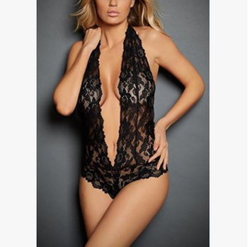 Women Lingerie Teddy Deep V Halter One Piece Eyelash Lace Bodysuit