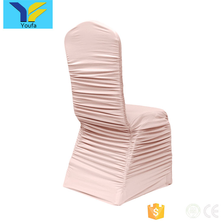 Wholesale party decoration wedding cover chair hotel banquet cheap christmas wedding ruffled spandex chair cover