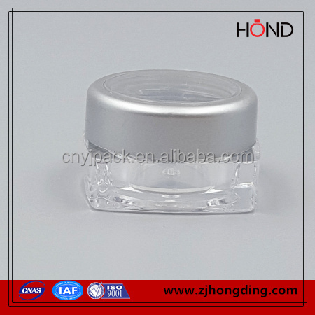 top quality AS body material <strong>plastic</strong> square clear 3g medical <strong>plastic</strong> vial&container,acrylic cosmetic packaging