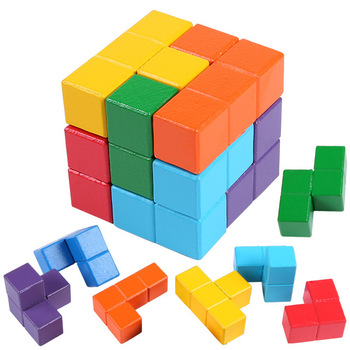 Intelligence Building Block Early Educational Wisdom Toys 3D Wooden Soma Puzzle Brain Teaser