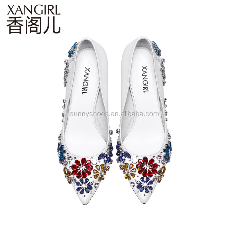 shoes genuine with sexy women arrivals new leather heel crystals pointed toe high adorned 2017 glittery sandals aqv4x0wR7