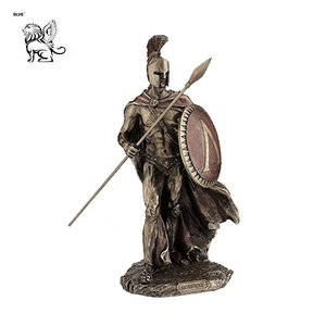 garden antique cast bronze ancient warriors life size Leonidas Spartan king with spear & shield statues BRL-285