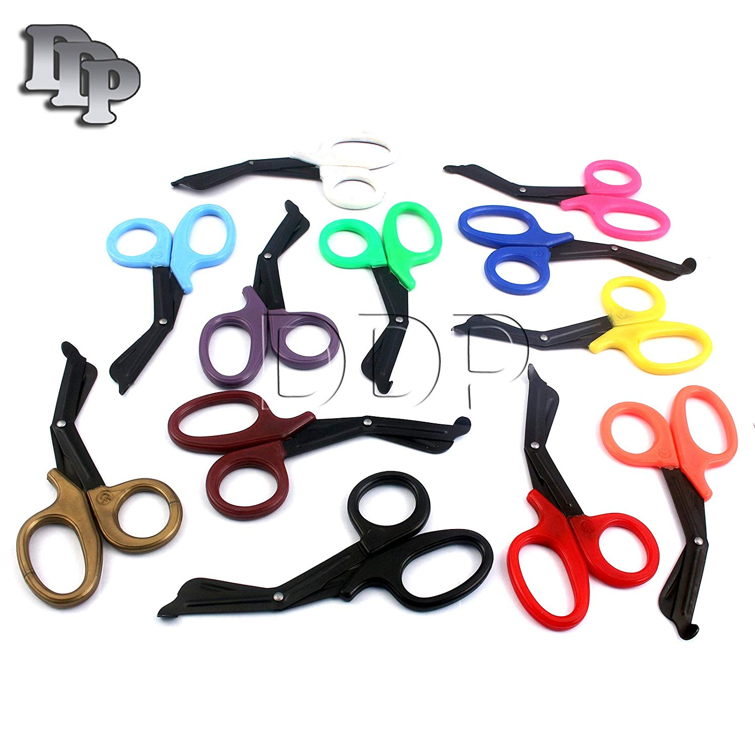 "SET OF 12 ( MIX COLORS ) FLUORIDE COATED TRAUMA PARAMEDIC EMT SHEARS SCISSORS 5.5"" (DDP BRAND)"