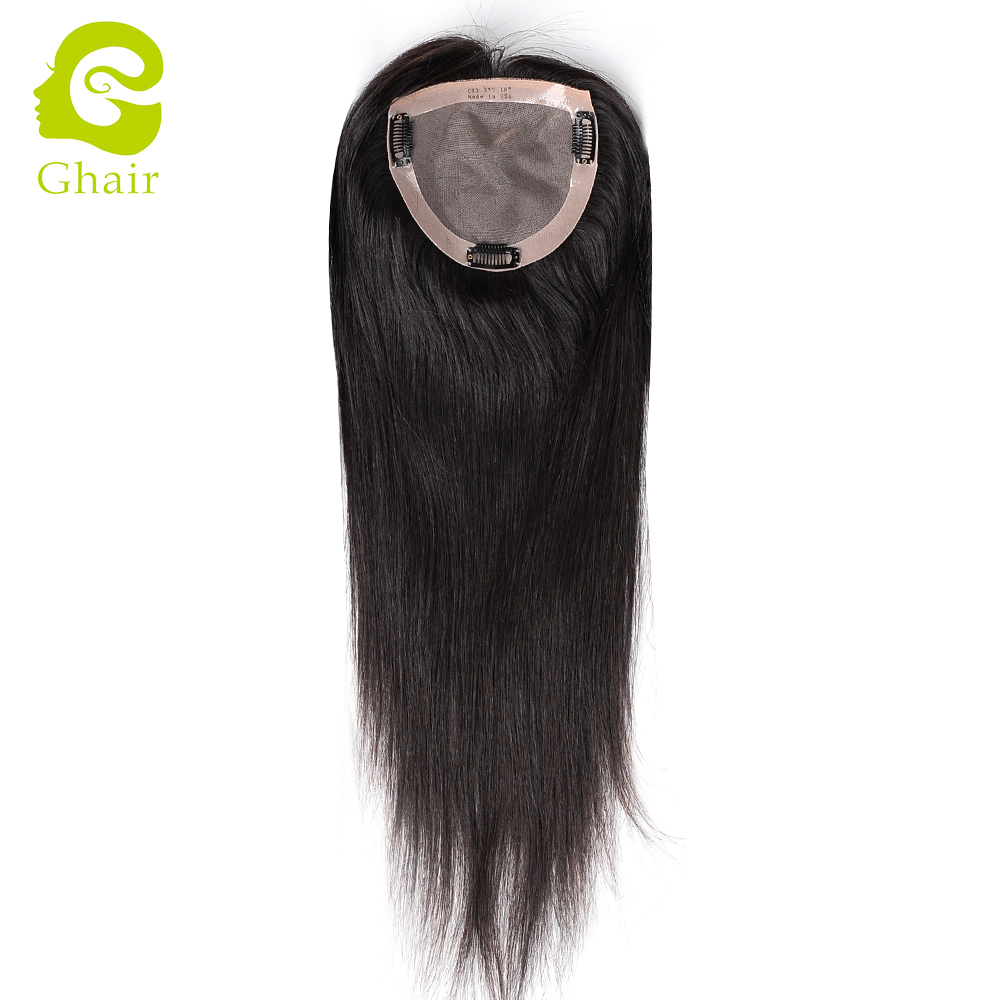 High quality 100% real human hair toupee for women with clip natural color free style straight hair in hair extension