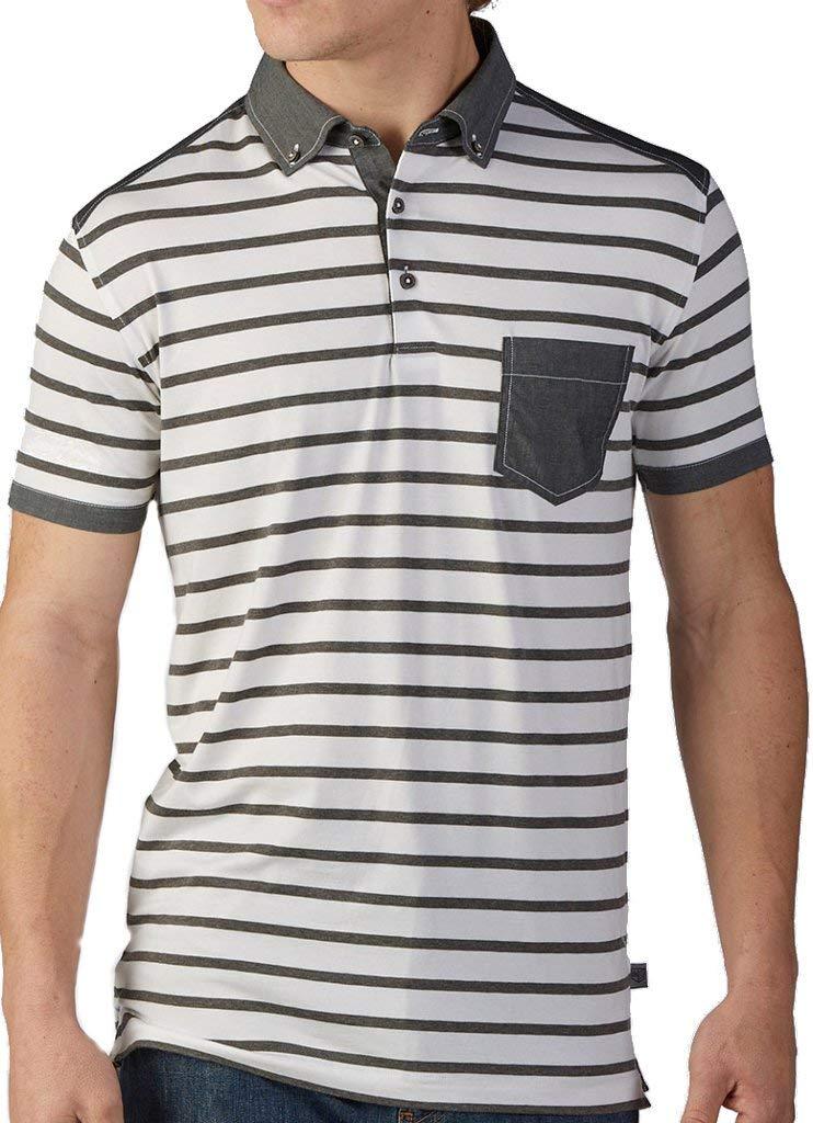 d267a277c99ab0 Get Quotations · Bobby Jones R18 Badger Stripe Cotton Stretch Short Sleeve  Pocket Polo White XX-L