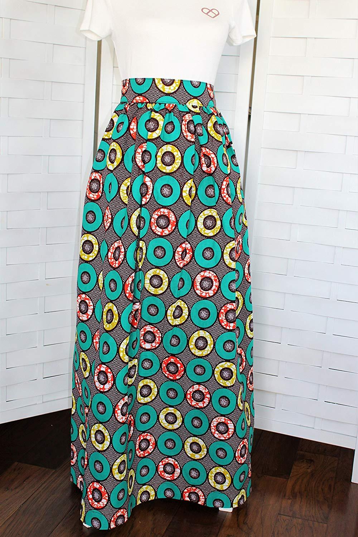 e9f34977a Get Quotations · Africa Fabric Long Skirt with Pockets, Ankara Skirt,  African Maxi Skirt, African Long