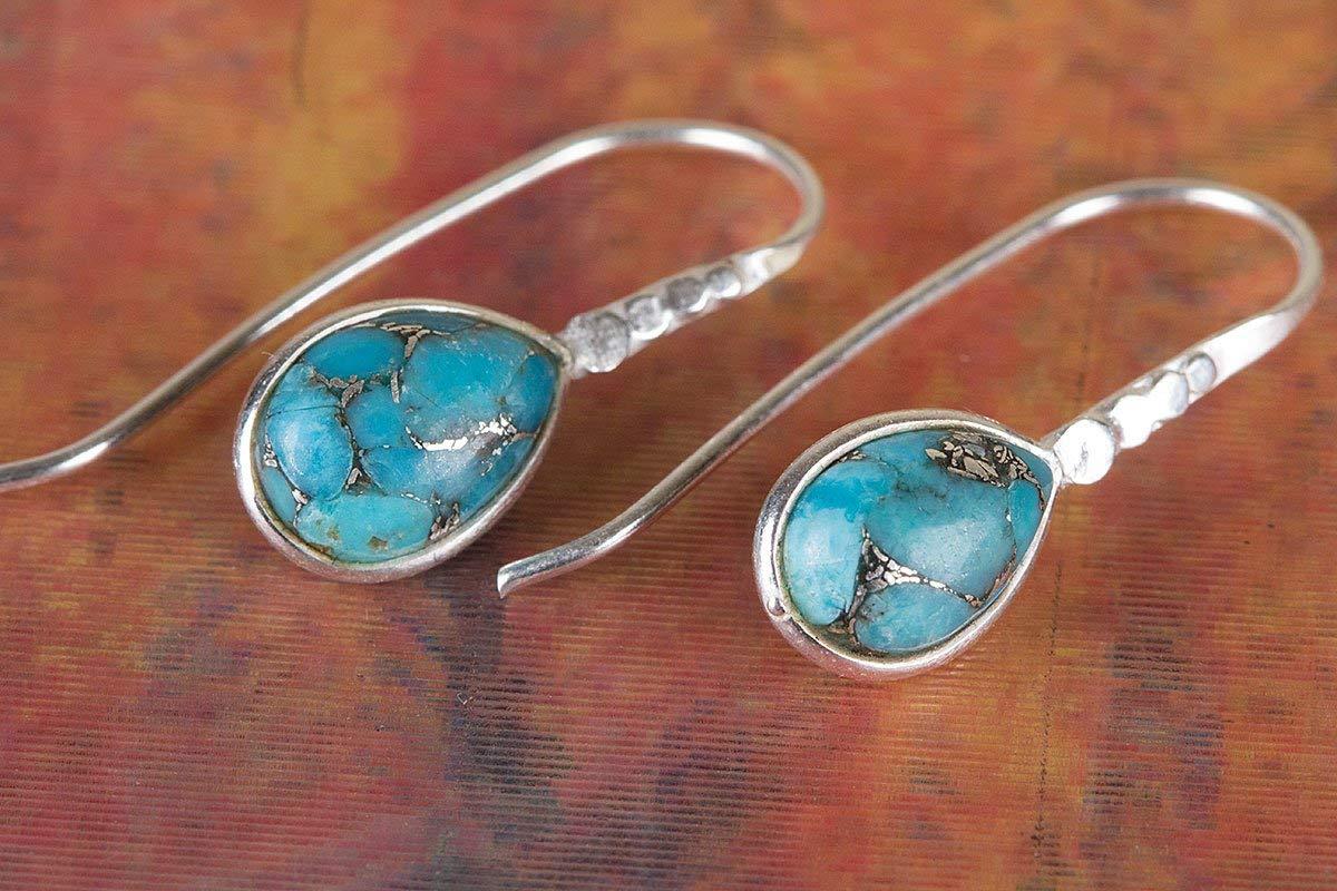 Blue Copper Turquoise Earring, 925 Silver Earring, Handmade Earring, Bridal Earring, Fine Earring, Pear Shape Earring, Nickel Free Silver, Turquoise Jewelry, Boho Earring, Nickel Free Silver
