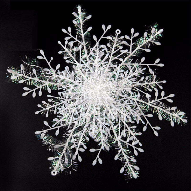Snowflake Christmas Ornament 3pcs 1pack White Plastic