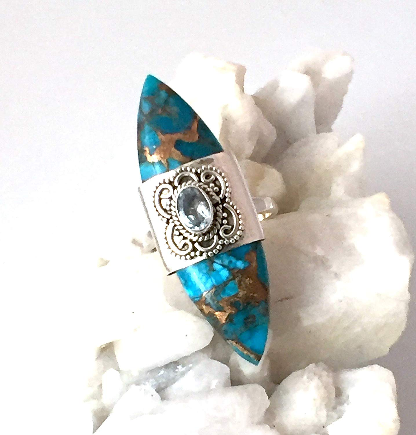 """Sz 7.5, Genuine Arizona Blue-Copper Mohave TURQUOISE and Sky Blue Topaz Gemstone, 925 Sterling Silver, Designer Marquise Ring (1.7"""" Long) Jewelry."""