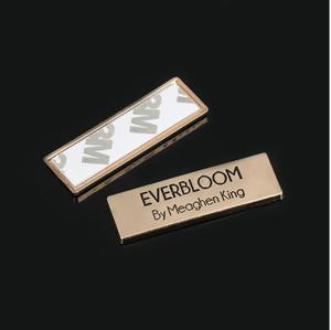 Custom fashion bag metal logo label 3M adhesive tag