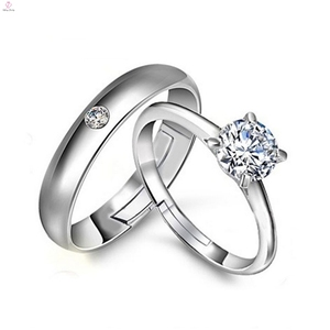 New Fashion Wedding Lover Silver Couple Engagement Diamond Rings