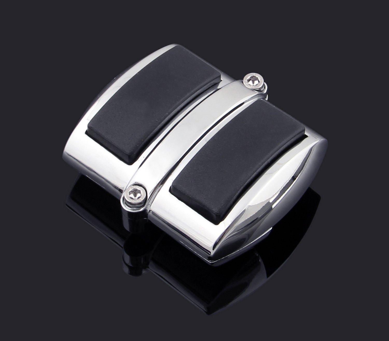 New Chrome Brake Pedal//Heel Shift Pad Cover with Black Non-Slip Rubber Pads Chrome Brake Pedal//Heel Shift Pad Cover Rubber