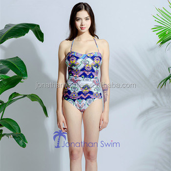 2018 Jonathan Swim Women's gorgeous plicated padded up halter one piece swimwear.