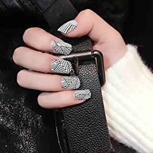 978b2831311 Get Quotations · YuNail Cool Stripes False Nails 24pcs Black White Nails  Tips in acrylic box Oval Full Short