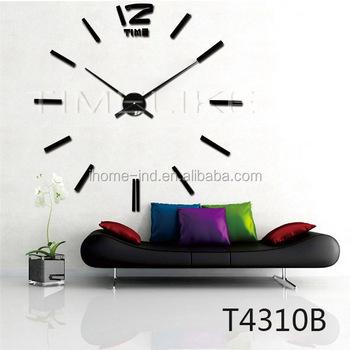 Free Sample Modern Mute DIY Big Wall Clock 3D Sticker Luxury Home Office  Decor Black Gift