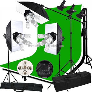 Photo Studio kit photo softbox hot sell Studio Continuous kits + Backdrop Stand Kit + Photo Studio Light Bulb