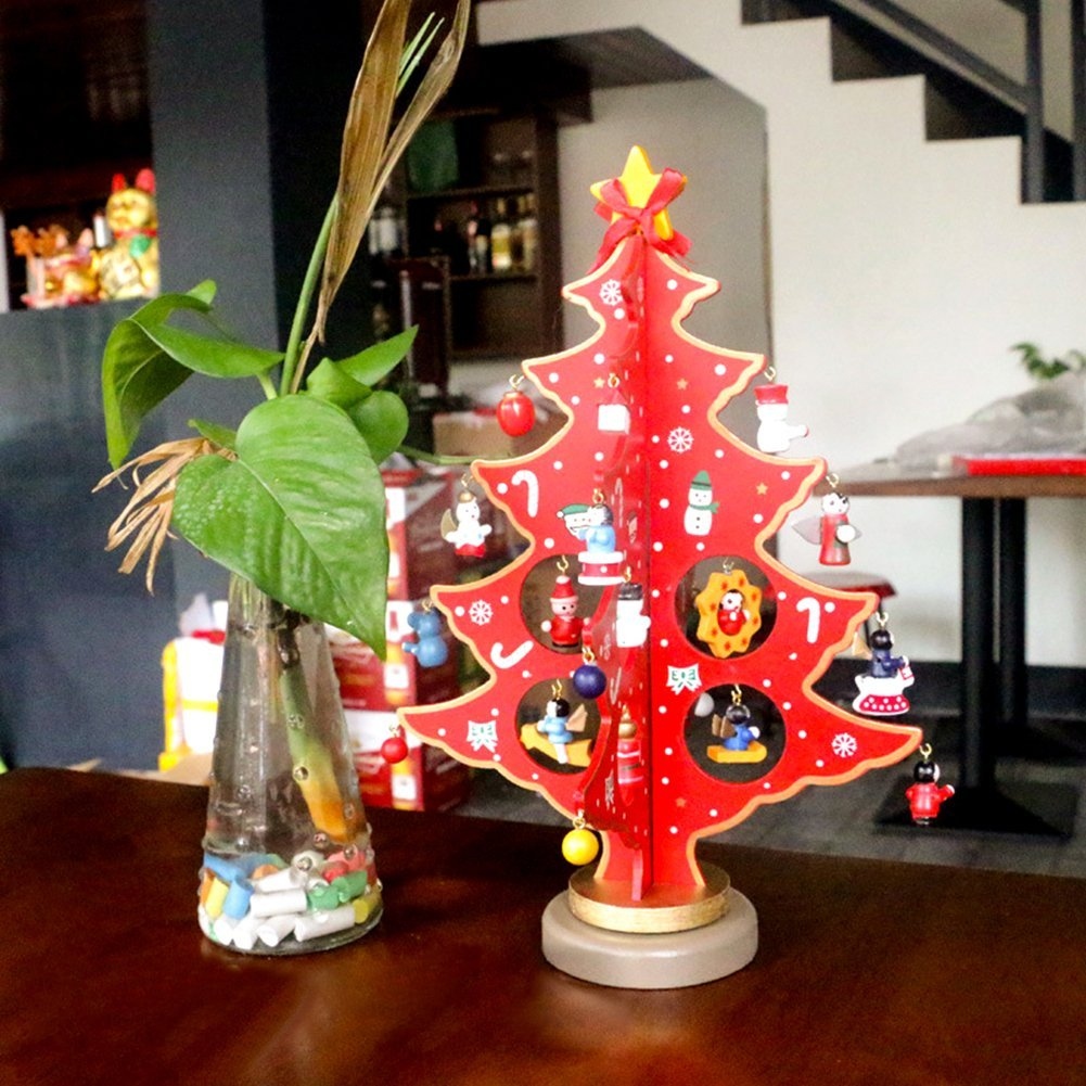 buy msy wooden diy christmas tree table decoration tabletop mini christmas tree with miniature christmas ornaments gift in cheap price on malibabacom