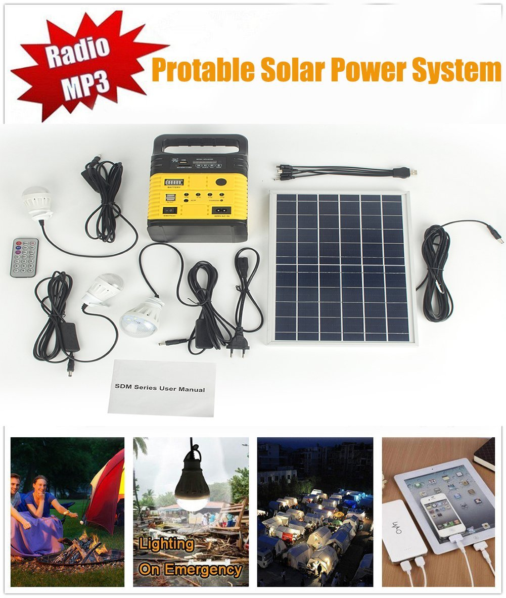 Hioffer Solar Generator Portable kit,Power Inverter,Solar Generator System for Home & Camping,Power Mini DC6W Solar Panel 6V-9Ah Lead-acid Battery Charging LED Light USB Charger System