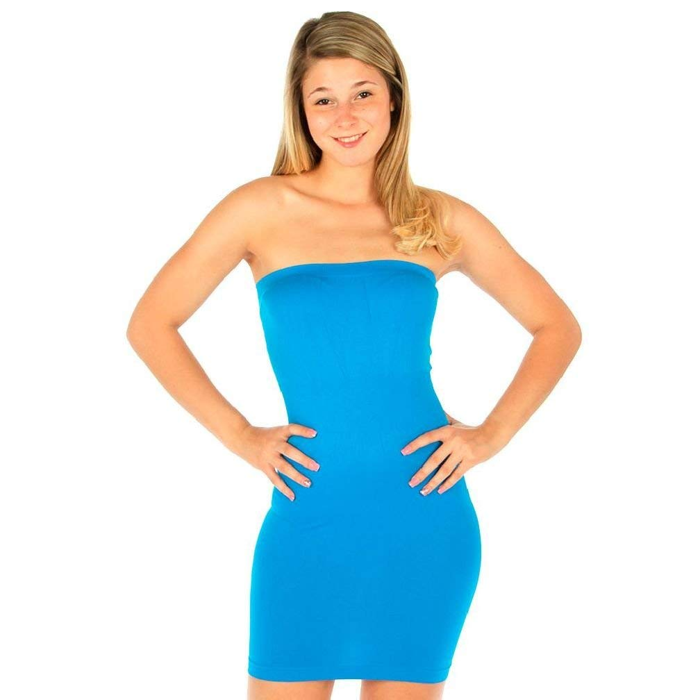 52278816106 Get Quotations · New Tube Mini Dress Strapless Stretch Tight Fitted Club  Body Con Seamless One Size